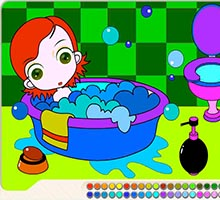 Анимированная раскраска с девочкой в ванне