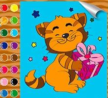 Онлайн раскраска для детей «Тигренок с подарком»