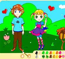 Раскраска онлайн в стиле аниме с влюбленными